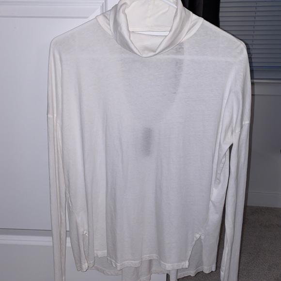 bobi Tops - White Long Sleeve Mock Neck Tee